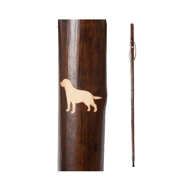 Vandrestav med udskåret motiv af Labrador